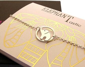Sterling Silver Baby Elephant Bracelet - Gift Card Bracelet - Elephant-astic Bracelet - Elephant Jewellery