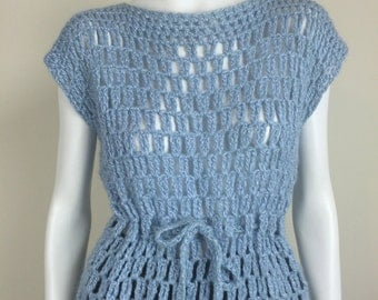 pale blue crocheted sweater tunic top vest w/ drawstring 60s