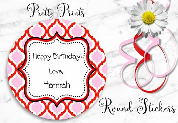 Round Stickers - Moroccan Pattern - Personalized Stickers - Set of 12 Round Labels - Birthday Stickers - School Stickers