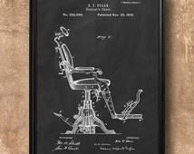 Vintage 1879 Dentist's Chair, Art Print Poster or Canvas, Retro Patent Wall Art, Home Decor, Medical, Dental, Dentist Gift Idea 63