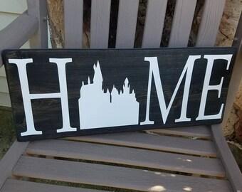 Hogwarts Sign, Harry Potter, Home Decor, Handmade Wooden Sign, Rustic Decor, Home Sign