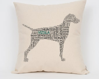 """Vizsla 16"""" Pillow / Choose Your Colors! / Insert Included / Dog Breed Pillow, Dog Lover Gift, Pet Pillow, Dog Art, Dog Mom, Pet Lover"""