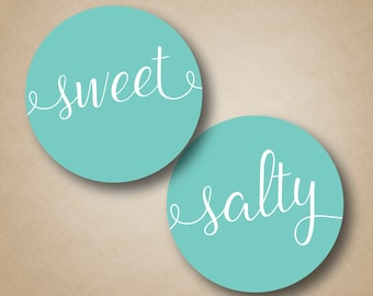 Sweet and Salty Labels Wedding Welcome Box Stickers Treat Labels Snack Stickers for Wedding Guests Hotel Welcome Bag His and Her Favorite