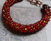 Red and Amber Braided Kumihimo Bracelet