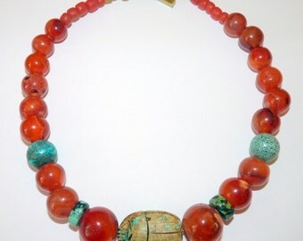 Handmade Ethnic Tribal Necklace of Antique Carnelian Beads with Turquoise and Carved Stone Egyptian Scarab Focal