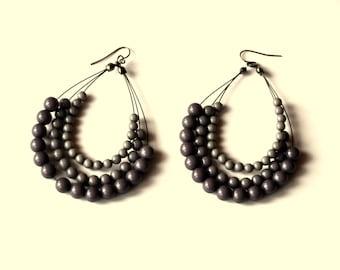 Vintage Boho Earrings - Retro Plastic Bead Earrings
