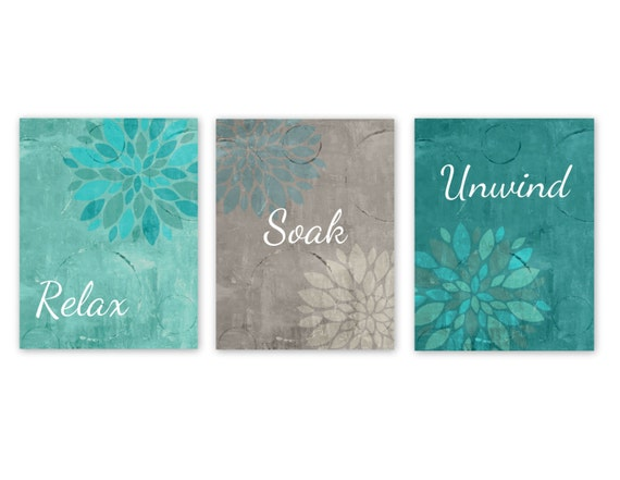 Bathroom wall decor teal bathroom decor turquoise grey for Teal and grey bathroom sets