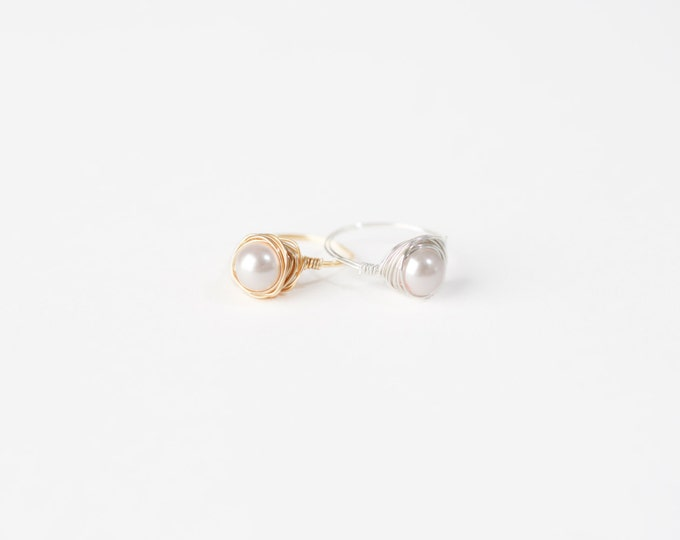 Pale Pink Pearl Ring-Pink Pearl Wire Ring-Pink Pearl Silver Wire Ring-Pink Pearl Gold Wire Ring-Wire Jewelry-Silver Wire Ring-Gold Wire Ring