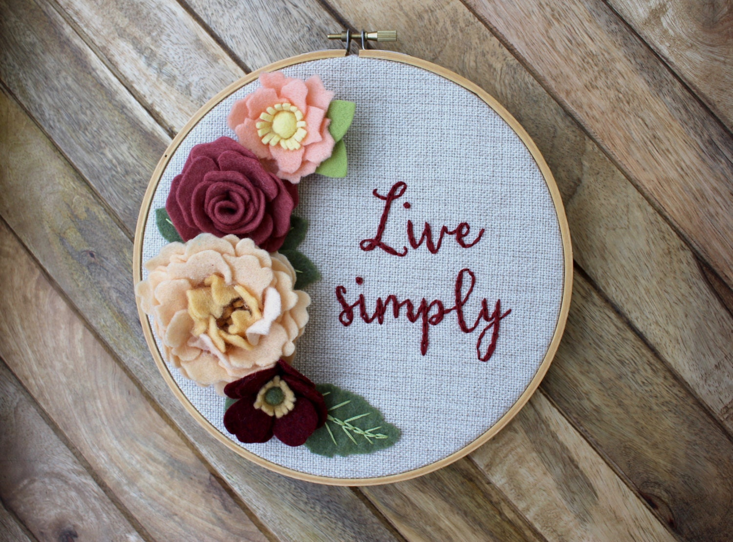 Live simply floral embroidered hoop art inch felt flowers