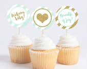 Baby Shower Mint & Gold Glitter Cupcake Toppers - DIY Printable - Instant Download