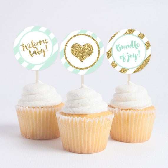 Baby shower mint gold glitter cupcake toppers diy for Baby shower cupcake decoration
