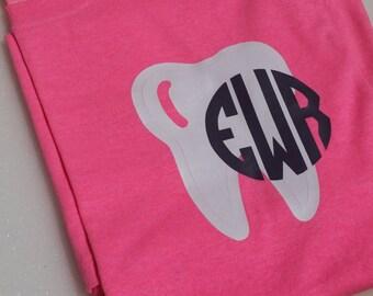 Pocket Tooth Shirt. Dental Assistant Shirt. Dentist Shirt. Dental Hygienist Shirt. Gift for Dental Student. Monogram Shirt. Custom Shirt.