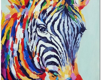 Hand Painted Modern Impressionist Zebra Painting On Canvas - Multi-Colored Animal Art ARTIST CERTIFICATE INCLUDED