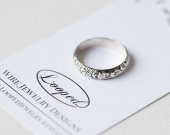 Sterling Silver Scroll Ring Vintage Inspired