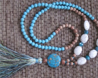 long beaded tassel necklace turquoise necklace white stone beads wooden beads mala bohemian jewelry long trendy beaded tassel necklace