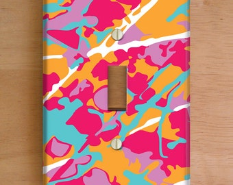 Artist Camouflage Vinyl Light Switch Cover, Outlet Cover, Wallplate, Pink Home Decor, Paint Splatter, Vinyl Stickers, Pink Light Plate