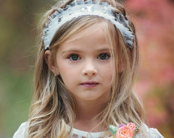 Baby Headband, White headband, Girls Headbands, rhinestone headband, Flower girl headband, Baptism headband, bridal headband, Baby hair bows