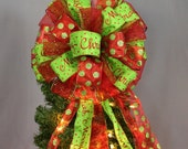 Large Red Green Merry Christmas Glitter  Christmas Tree Bow Topper Mantel Wreath