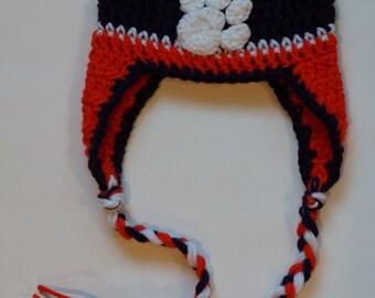 Clemson Tigers Hat - Crochet Baby Earflap Hat - Tiger Paw