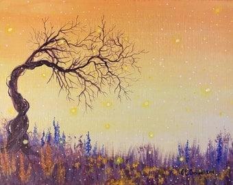 Fairy Tree Painting, Original Fantasy Painting, Fairy Landscape