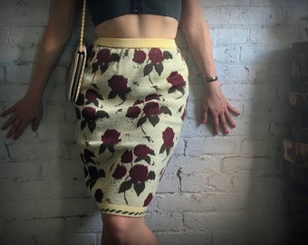 Knit Rose Pencil Skirt