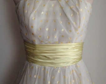 Vintage 1950s Strapless Organza Prom Dress/Gold Polka Dots on Light Cream with Buttercup Yellow Satin Sash/Full Skirt/50s