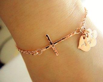 Rose Gold 3 Initial Cross Bracelet/3 Kid Mom Bracelet/Personalized Rose Gold Heart Name Cross Sister Bracelet/Gift for 3 Best Friend Sister