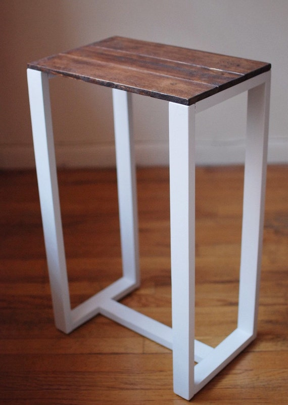 Thin side table end table nightstand pedestal by owldesigned for Thin side table