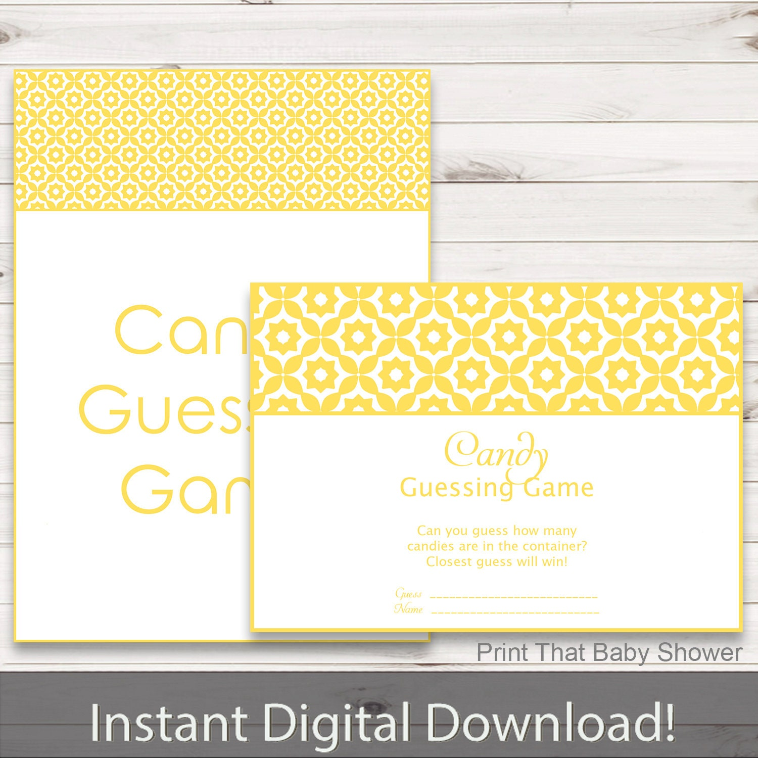 Candy Baby Shower Game: Baby Shower Games Candy Guessing Game Yellow Geometric