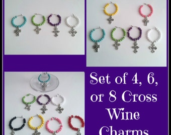 Set of 4, 6, or, 8 Cross Wine Charms