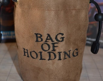 Dice Bag custom Embroidery Suede Brown Bag of holding