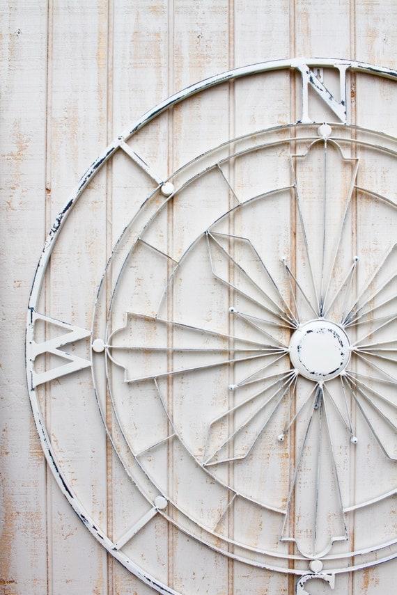 Nautical Compass Wall Decor : Nautical compass wall art shabby chic decor metal
