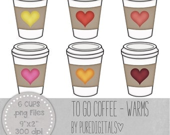 Coffee Cup Clip Art, Coffee Cup PNG, Digital Scrapbooking, Scrapbooks, Colored Coffee Cup, Digital Coffee Cup, Digital ClipArt