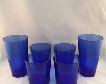 Cobalt Blue Drinking Glasses Set of 6