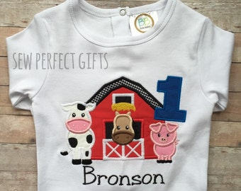 Farm Birthday. 1st Birthday. Animal Birthday. Onesie. Cow, pig, horse, barn first birthday, Farm animal