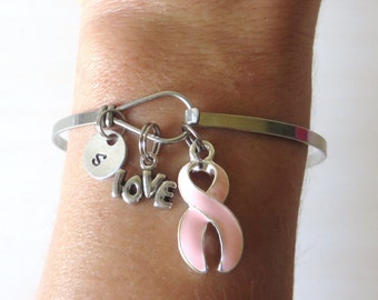Pink LOVE HOPE Customizable Awareness Charm Stainless Steel Bangle Bracelet With Optional Love Hope and Letter Charm