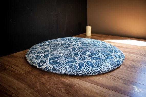 Zabuton Floor Pillows : Round Zabuton Meditation mat floor cushion Blue Mandala