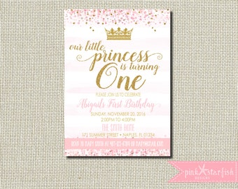 Princess Birthday Invitation, Princess Birthday, Princess Invitation, Pink and Gold, Glitter, Birthday Invitation, Princess, Crown, Digital