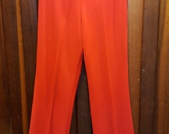 RED POLYESTER PANTS // 70's Lipsitck Red Pressed Pants Elastic Waist Size 10 Halloween Costume 80's