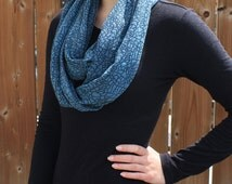 Blue Infinity Scarf,  Blue Pattern Infinity,  Black and Blue Scarf, Circle Scarf, Loop Scarf