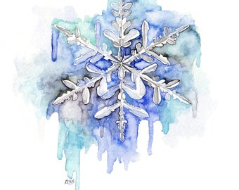 "Snowflake Painting - Print from Original Watercolor Painting, ""Soft as Snow"", Winter, Blue, Frozen"