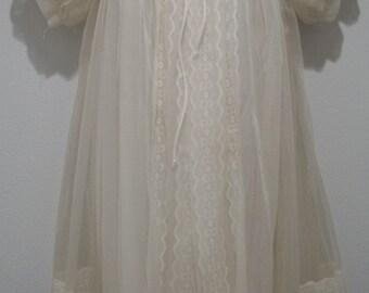 Vintage Miss Elaine Womens Large Ivory Nightgown Babydoll Set Sheer Chiffon Lace