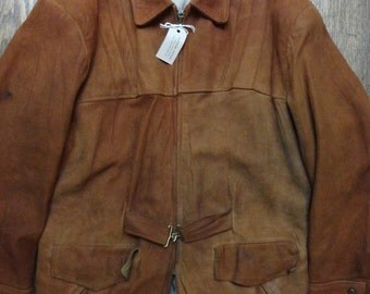 "Vintage 1950s 50s tan brown buckskin suede jacket quarter belt 46"" chest pleated pleats quilted rockabilly Crown zipper"