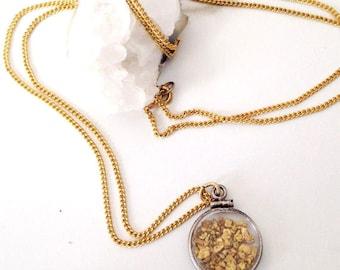 Vintage Alaska gold nugget necklace. Specimen necklace. Alaska souvenir necklace. Vintage souvenir necklace. Vintage hipster necklace.