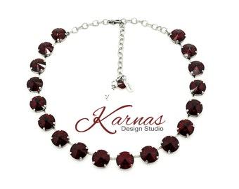 SIAM 14mm Deep Red Choker Swarovski Crystal *Antique Silver or Rhodium Finish *Karnas Design Studio *Free Shipping