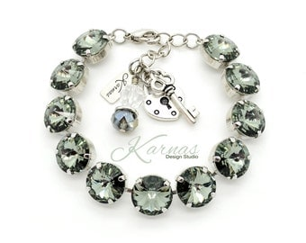12mm FULL BRACELET *Charms or Tag *Made With Swarovski Crystal *Choose Finish & Colors *Karnas Design Studio™ *Free Shipping*
