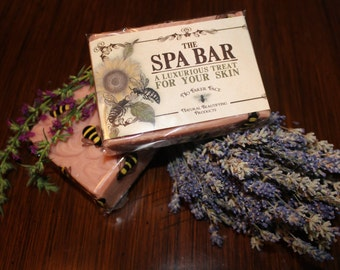 The Spa Bar with French Rose Clay - A Luxurious Treat for Your Skin - Natural Handmade Soap by No Faker Face - Natural Beautifying Products