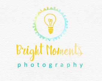 Premade photography logo design with watercolor lightbulb, business branding, bright watermark