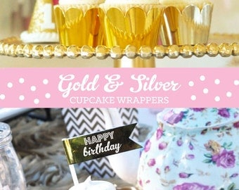 Pink and Gold Cupcake Wrappers Pink and Gold Cupcake Liners - Silver and Gold Foil Cupcake WRAPPERS ONLY  (EB3033) set of 12 Wrappers