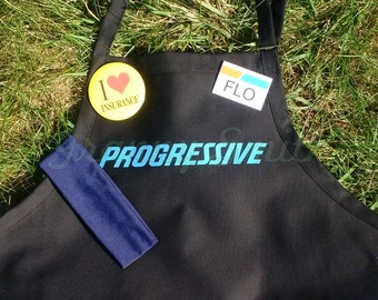 """CUSTOMIZABLE Adult Flo Progressive """"ZOMBIE"""" Insurance Apron, Name Badge, Yellow or White Button. Blue or Lime/Yellow headband"""